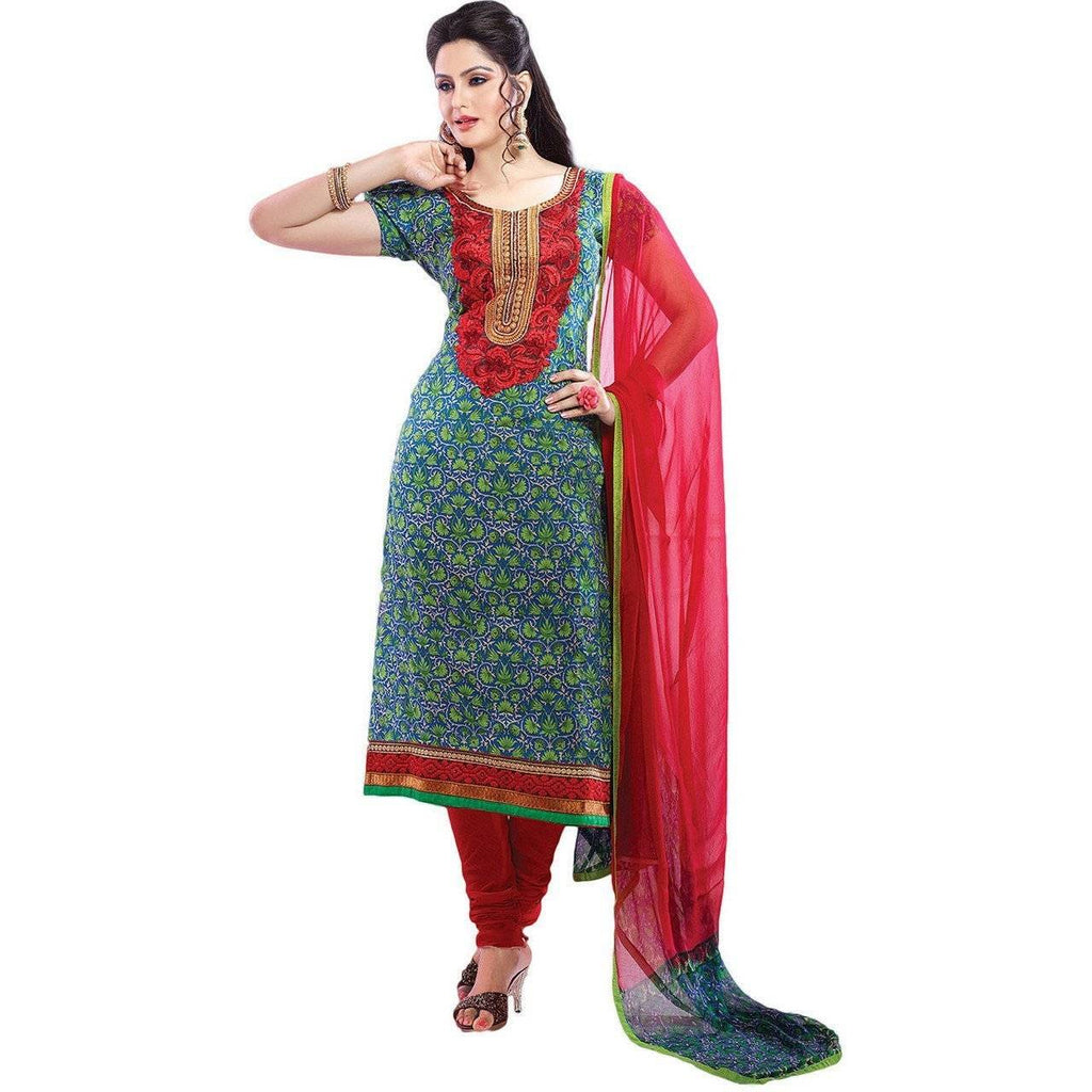 Red Cotton Floral Print Bollywood Pakistani Indian Designer Anarkali Salwar Kameez Churidar Suit Party Wear - rangoutlet.com
