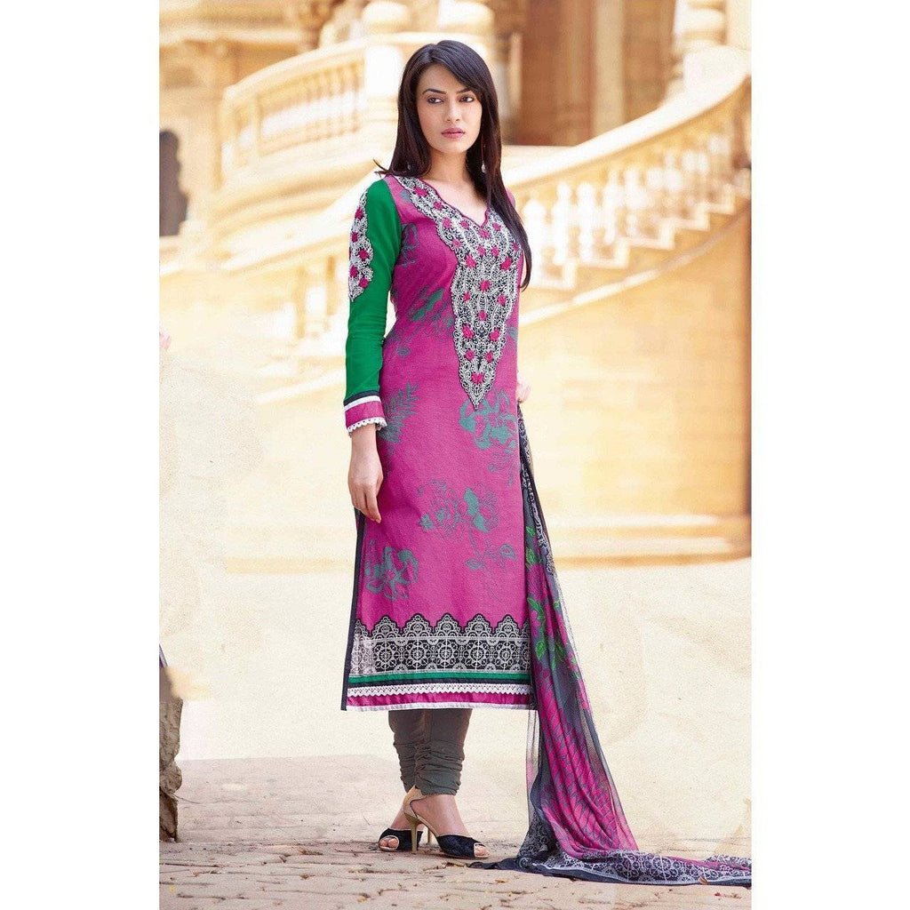 Dashing Deep Pink Color Printed Unstitched Casualwear Salwar Suit Cotton Shirt Fabric With Resham - rangoutlet.com