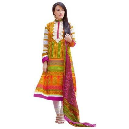 Orange Cotton Salwar Kameez dress materials - rupa5404 - rangoutlet.com