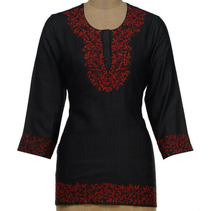 Red & Black Tussar Cotton Kurta - rangoutlet.com