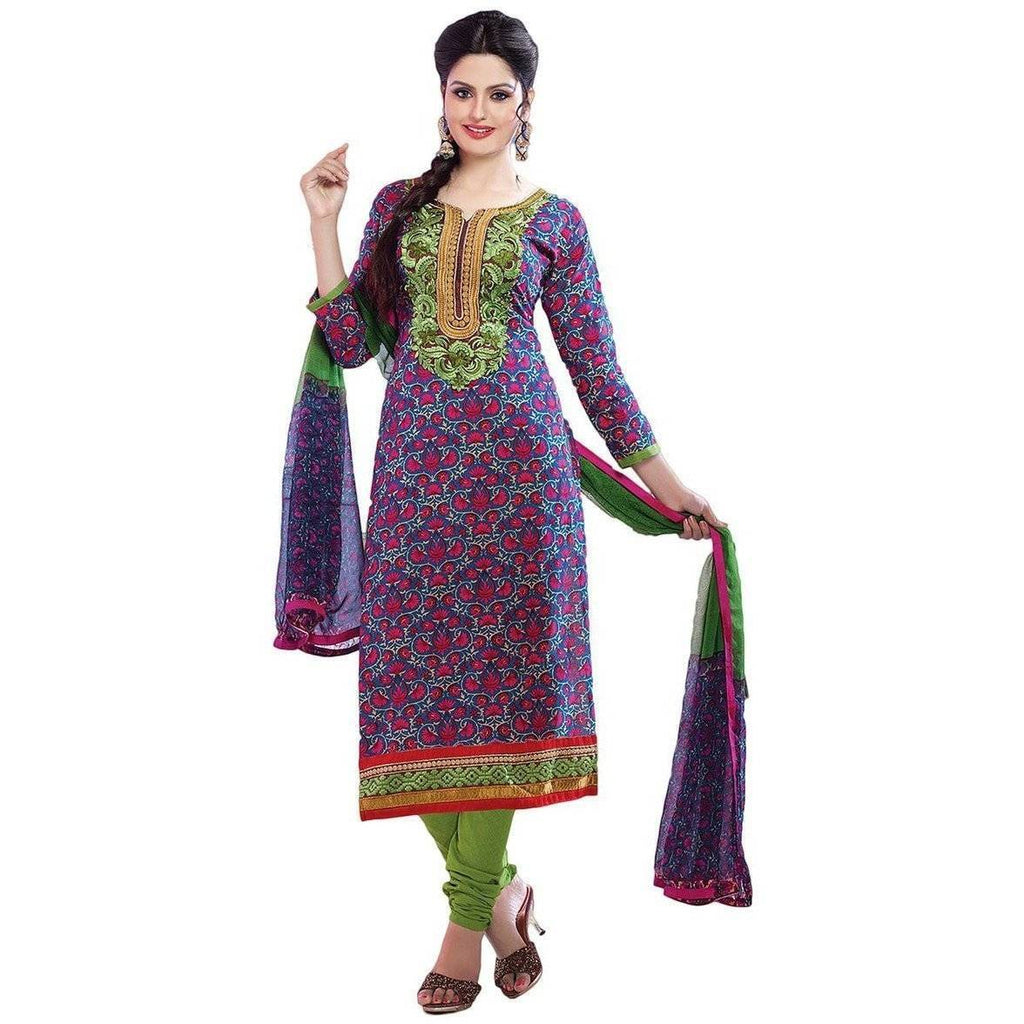 Purple Cotton Floral Print Bollywood Pakistani Indian Designer Anarkali Salwar Kameez Churidar Suit Party Wear - rangoutlet.com