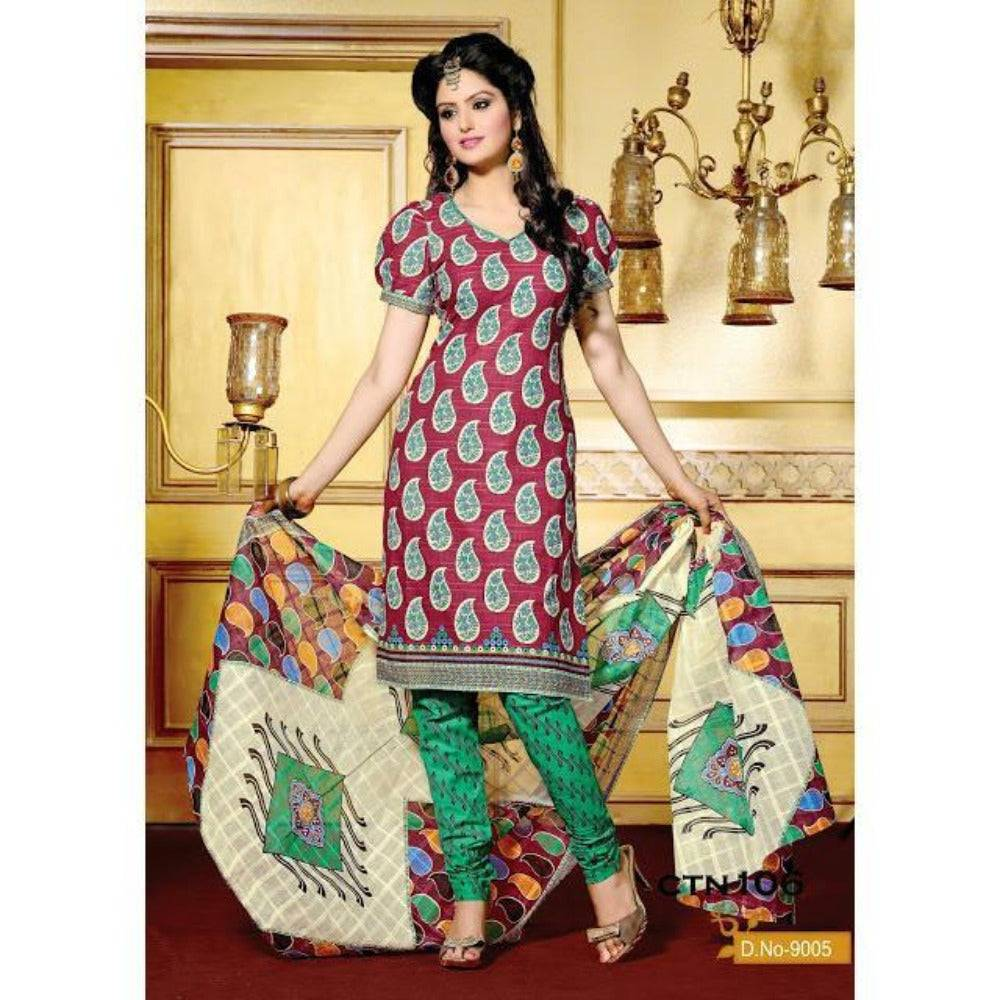 Maroon and Green Cotton Printed Salwar Kameez Dress Material - rangoutlet.com