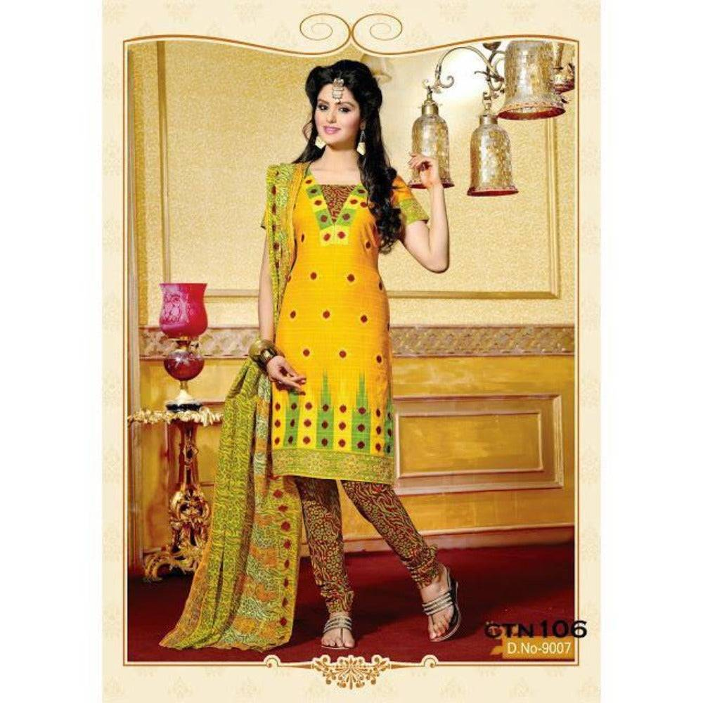 Bright Yellow Cotton Printed Salwar Suit Dress Material - rangoutlet.com