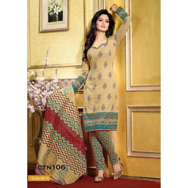 Light Cream Cotton Printed Salwar Kameez Dress Material - rangoutlet.com