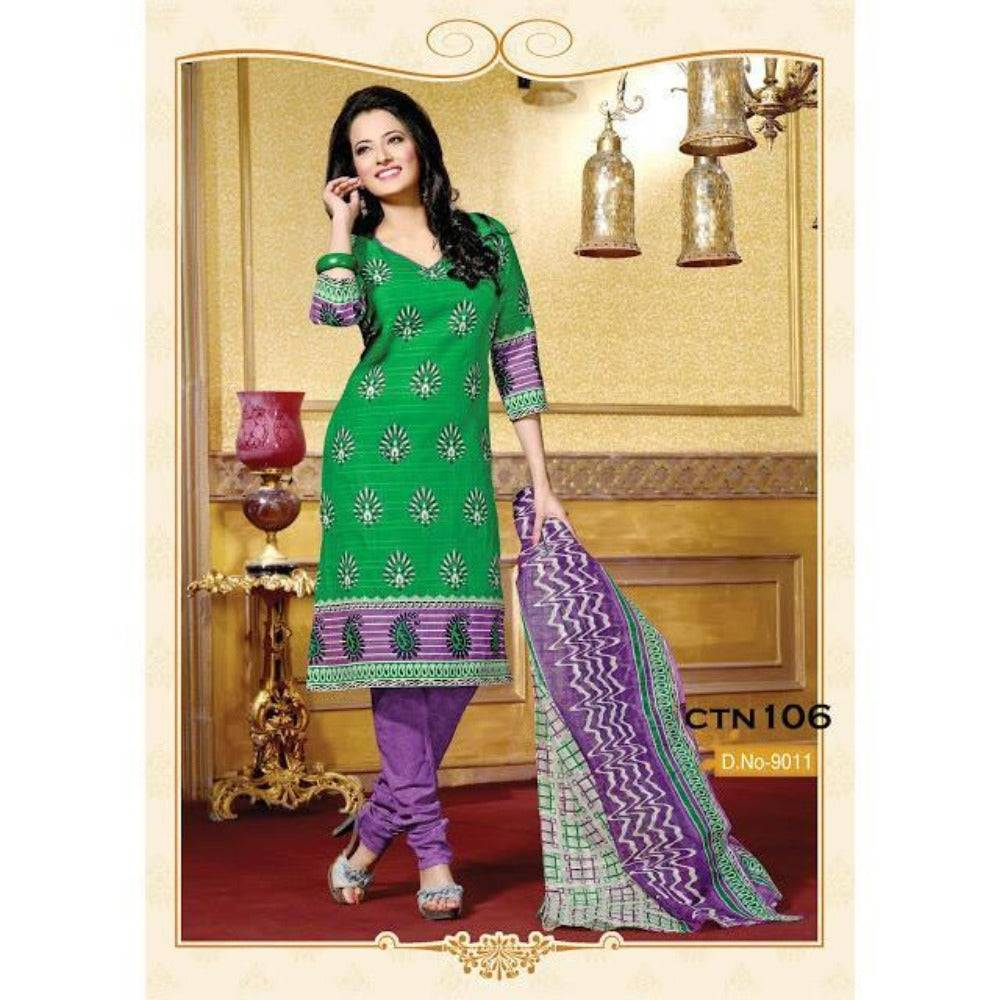 Green and Purple Cotton Printed Salwar Suit Dress Material - rangoutlet.com