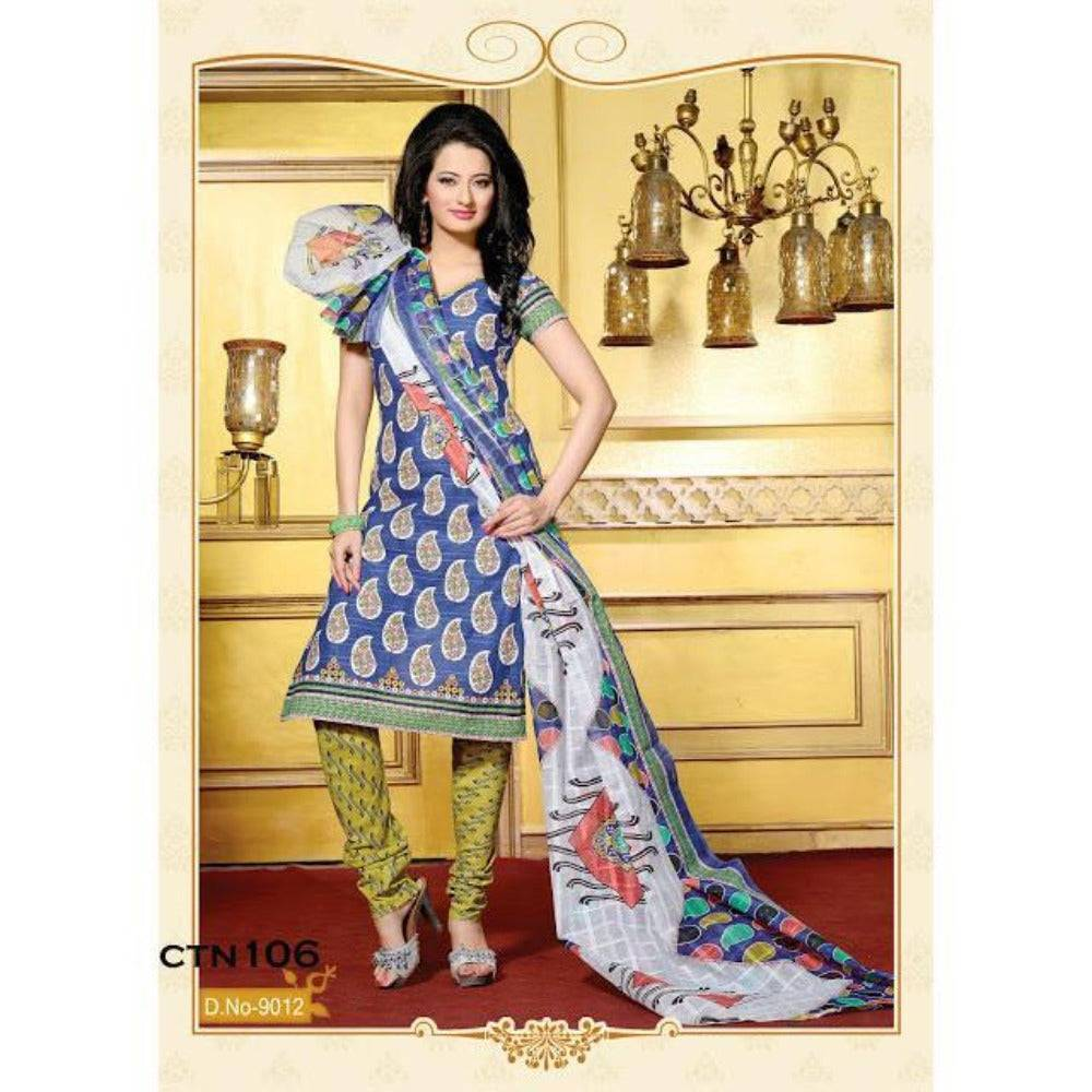 Light Blue Cotton Printed Salwar Kameez Dress Material - rangoutlet.com