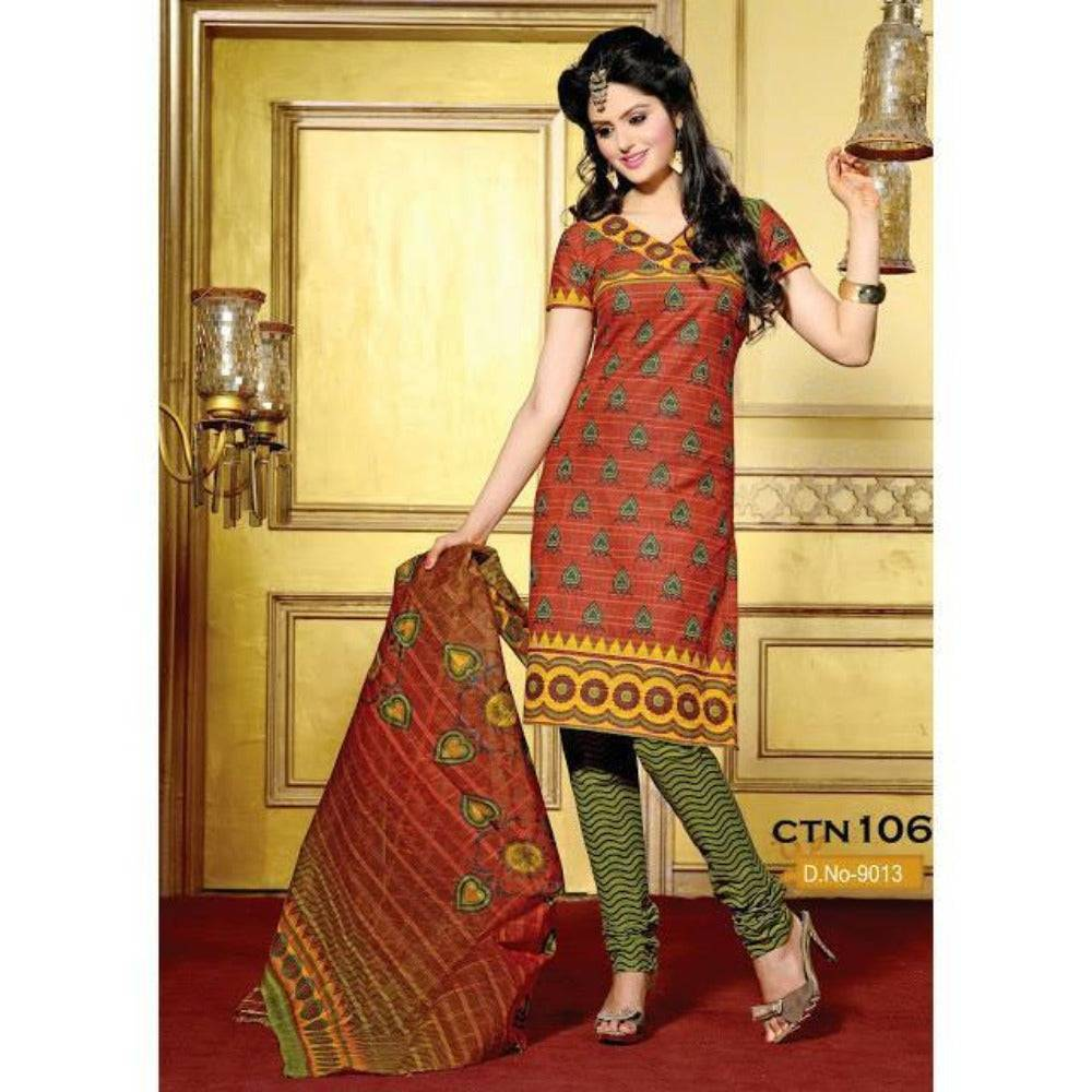 Orange and Light Parrot Cotton Salwar Kameez Dress material - rangoutlet.com