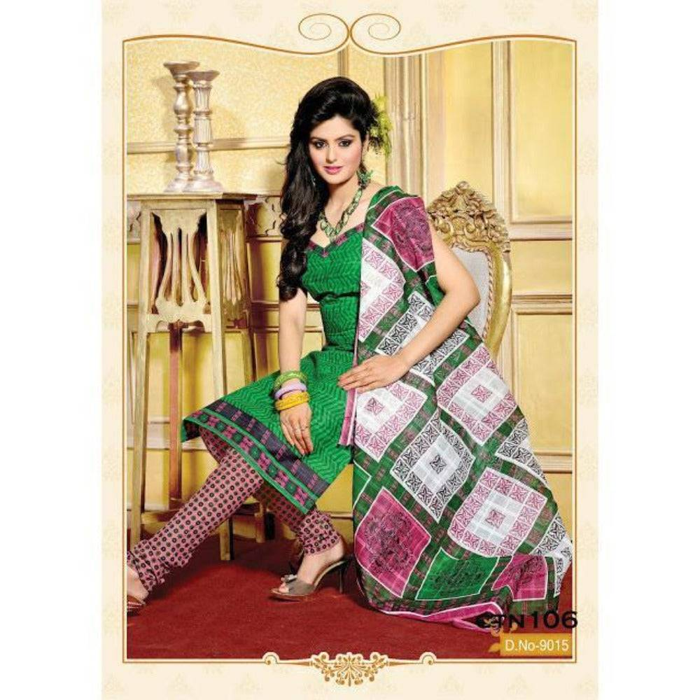 Green and Light Pink Cotton Printed Salwar Kameez Dress Material - rangoutlet.com