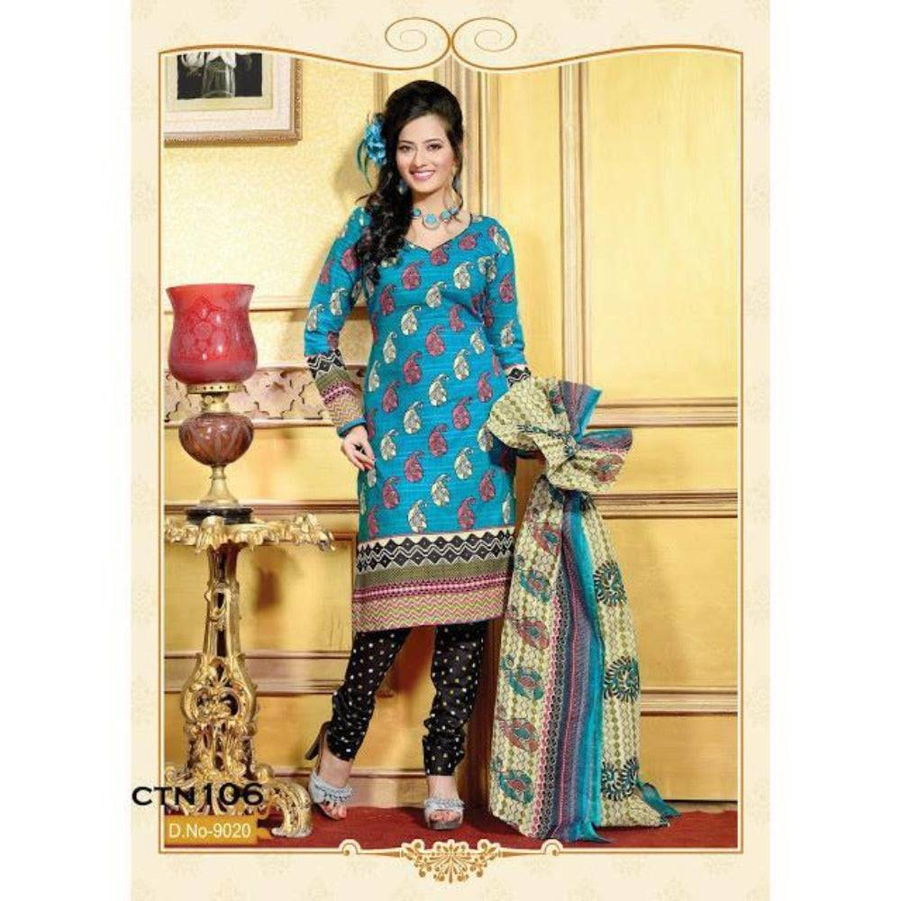 Cyan and Black printed cotton salwar kameez dress material - rangoutlet.com