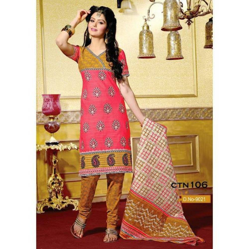 Pitch and Light Yellow Cotton printed Salwar Kameez Dress Material - rangoutlet.com