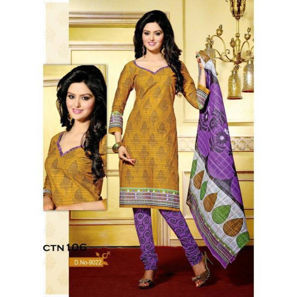 Yellow and Purple Cotton Printed Salwar Kameez Dress Material - rangoutlet.com