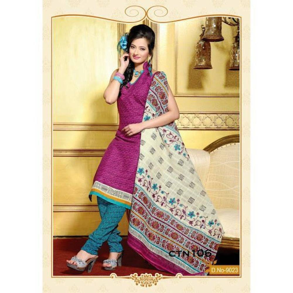 Dark Pink and cyan Cotton Printed Salwar Kameez Dress Material - rangoutlet.com