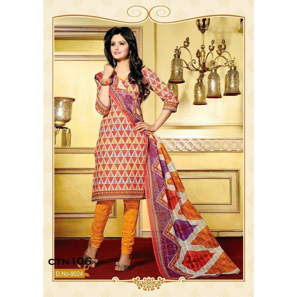 Orange and Light Yellow Cotton Printed Salwar Kameez Dress Material - rangoutlet.com