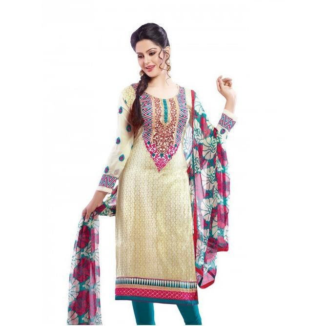 Off White Semi Stitched Salwar Kameez Set - rangoutlet.com
