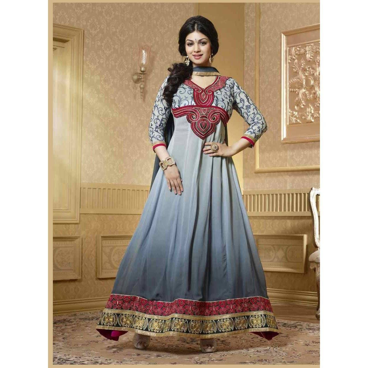 georgette grey colored salwar kameez - 15003 - rangoutlet.com