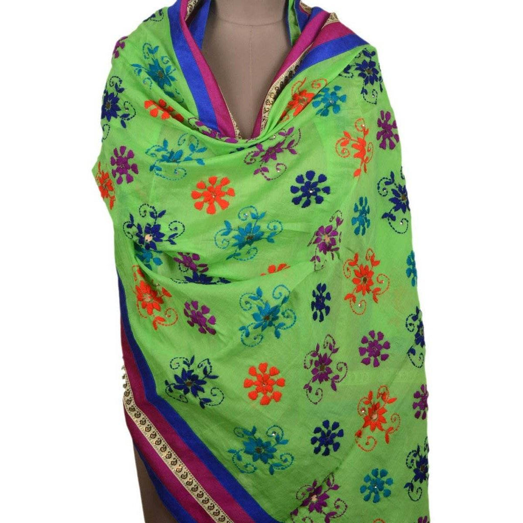 Mint Green Chanderi Silk Phulkari Dupattas, USA, UK, Canada - rangoutlet.com