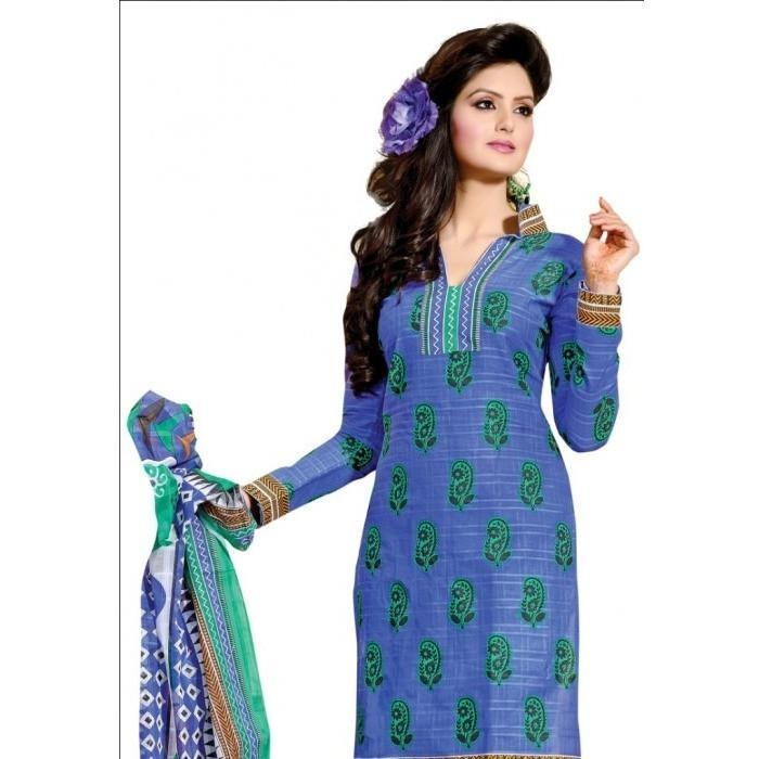 Blue Colored Pure Cotton Printed Semi-Stitched Salwar Suit Dress Material - rangoutlet.com