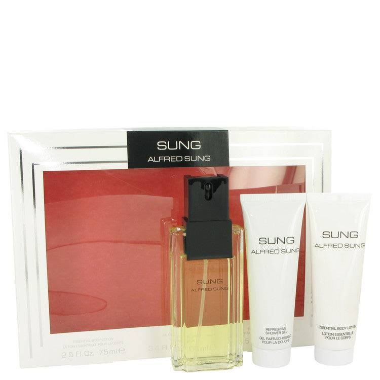 Alfred SUNG by Alfred Sung Gift Set -- 3.4 oz Eau De Toilette Spray + 2.5 oz Body Lotion + 2.5 oz Shower Gel for Women - rangoutlet.com