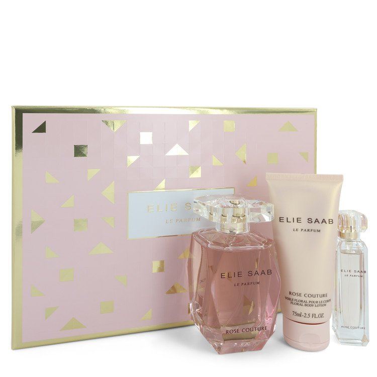 Le Parfum Elie Saab Rose Couture by Elie Saab Gift Set -- 3 oz Eau De Toilette Spray + 0.33 Mini EDT Spray + 2.5 oz Body Lotion   for Women - rangoutlet.com