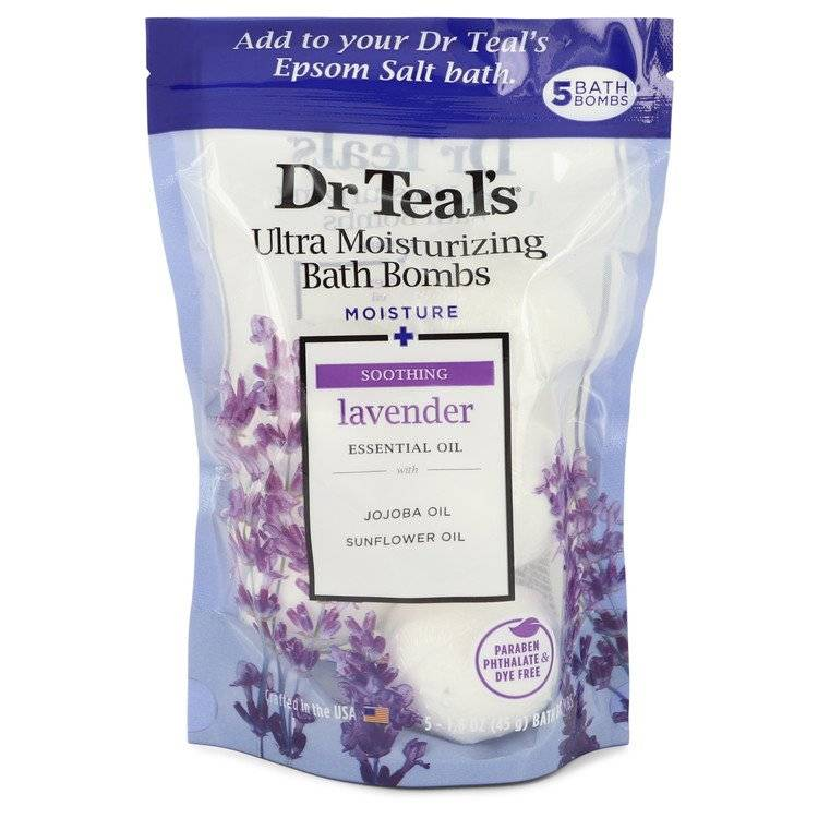 Dr Teal's Ultra Moisturizing Bath Bombs by Dr Teal's Five (5) 1.6 oz Moisture Soothing Bath Bombs with Lavender, Essential Oils, Jojoba Oil, Sunflower Oil (Unisex) 1.6 oz for Men