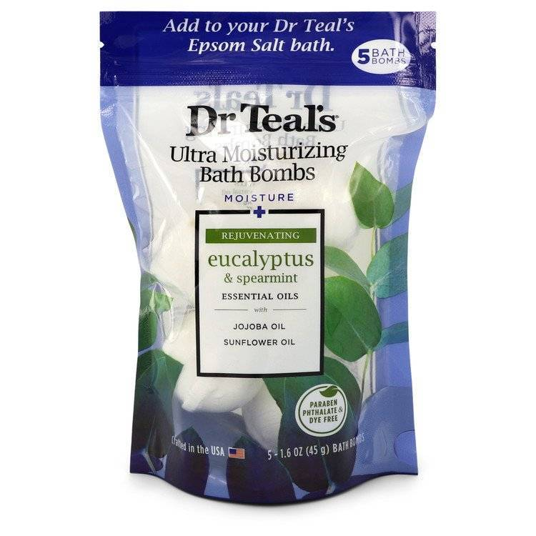 Dr Teal's Ultra Moisturizing Bath Bombs by Dr Teal's Five (5) 1.6 oz Moisture Rejuvinating Bath Bombs with Eucalyptus & Spearmint, Essential Oils, Jojoba Oil, Sunflower Oil (Unisex) 1.6 oz for Men - rangoutlet.com