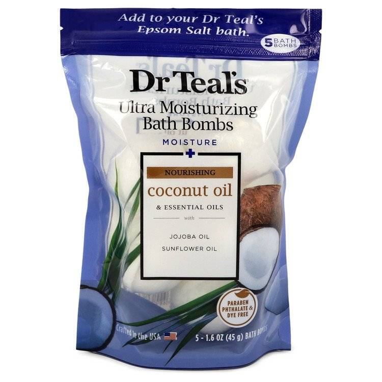 Dr Teal's Ultra Moisturizing Bath Bombs by Dr Teal's Five (5) 1.6 oz Moisture Rejuvinating Bath Bombs with Coconut oil, Essential Oils, Jojoba Oil, Sunfower Oil (Unisex) 1.6 oz for Men - rangoutlet.com