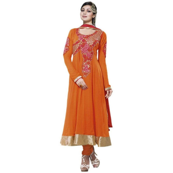 Orange Georgette Semi Stitch Salwar Kameez Dress - Sreya705 - Dress Material by Hypnotex - rangoutlet.com