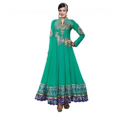 Green Georgette Semi Stitch Dress Sreya-706 - Dress Material by Hypnotex - rangoutlet.com