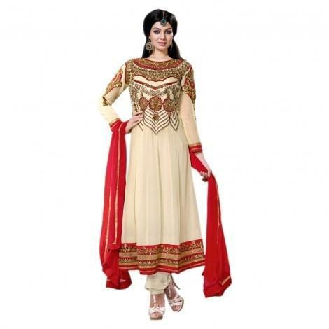 Cream Georgette Semi Stitch Dress Sreya-701 - Dress Material by Hypnotex - rangoutlet.com