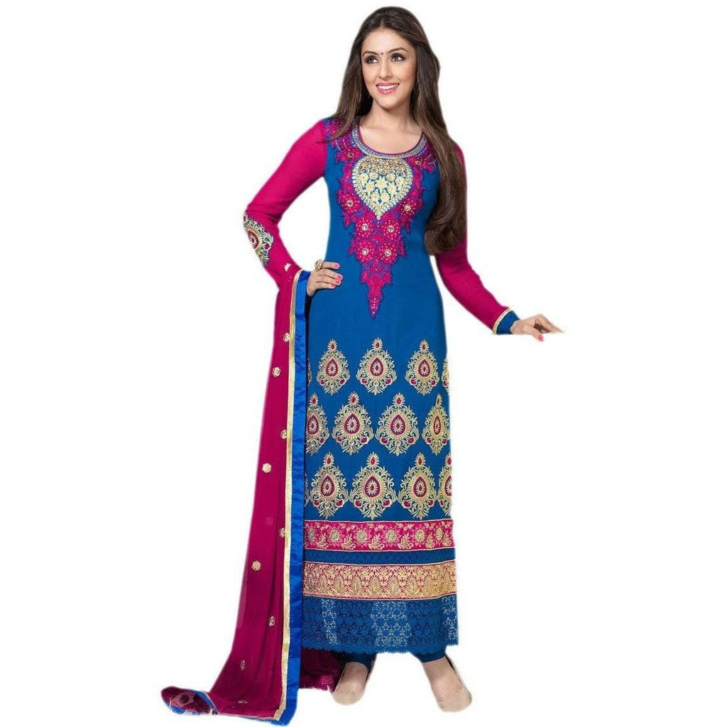 Blue Georgette Semi Stitch Salwar Suits Dress Divya2504 - Dress Material By Hypnotex - rangoutlet.com
