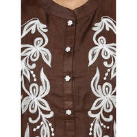 Brown Embroidered Kurti - rangoutlet.com