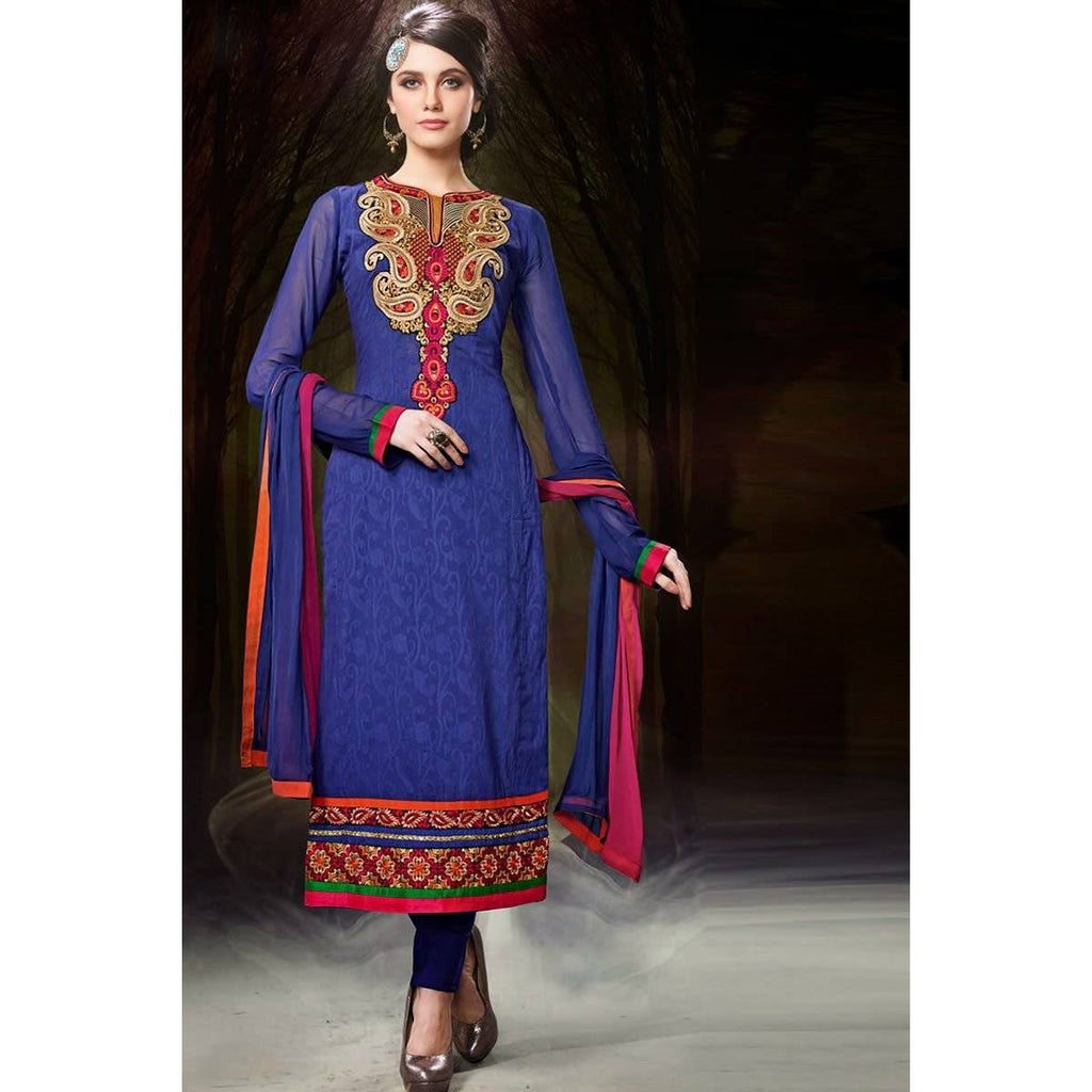 Blue Chanderi Cotton Salwar Kameez - Dress Materials - rangoutlet.com