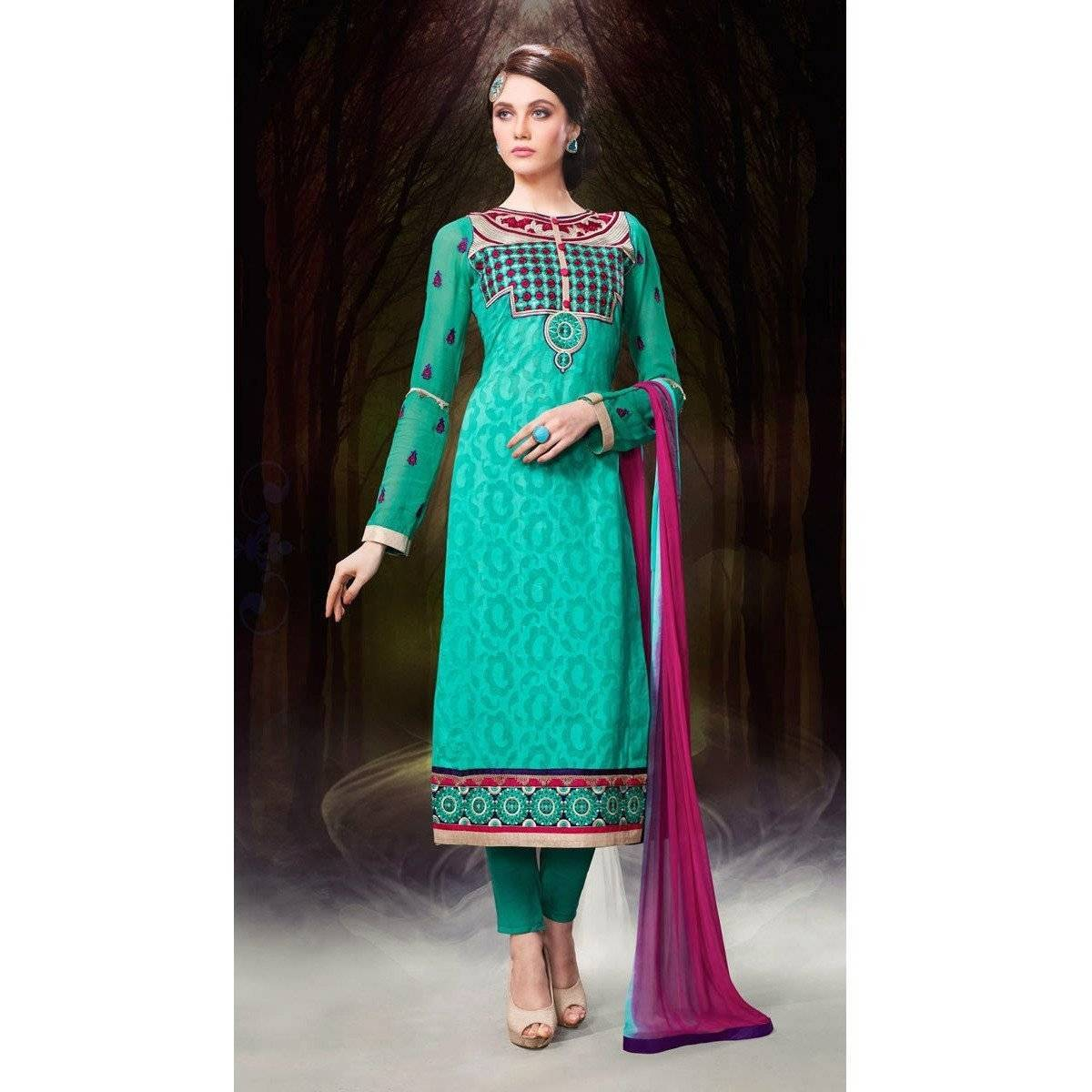 Green Chanderi Cotton Salwar Kameez Dress Materials - rangoutlet.com