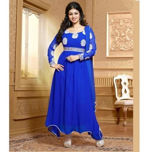 Georgette Embroidered Blue Long Anarkali Suit - 15005 - rangoutlet.com