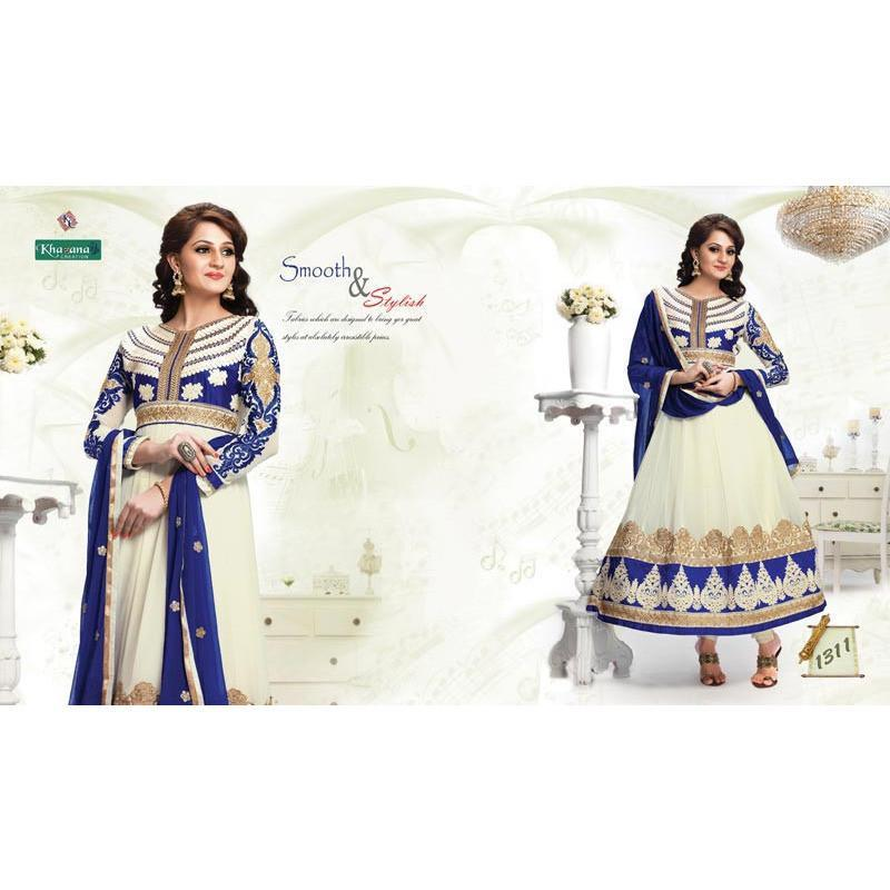 offwhite color Georgette fabric semi stitched salwar suit with dupatta - rangoutlet.com