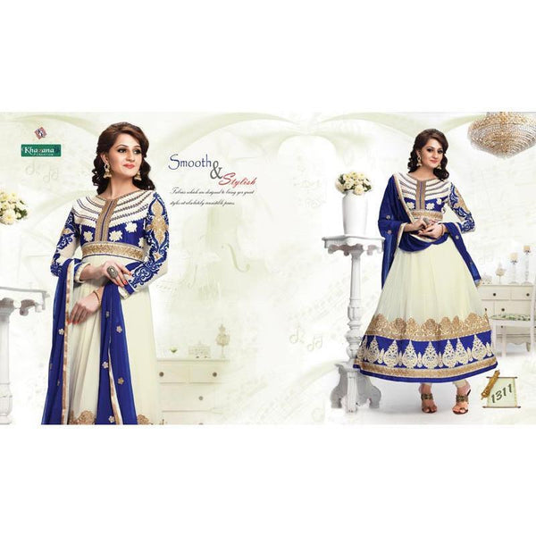 offwhite color Georgette fabric semi stitched salwar suit with dupatta - rang
