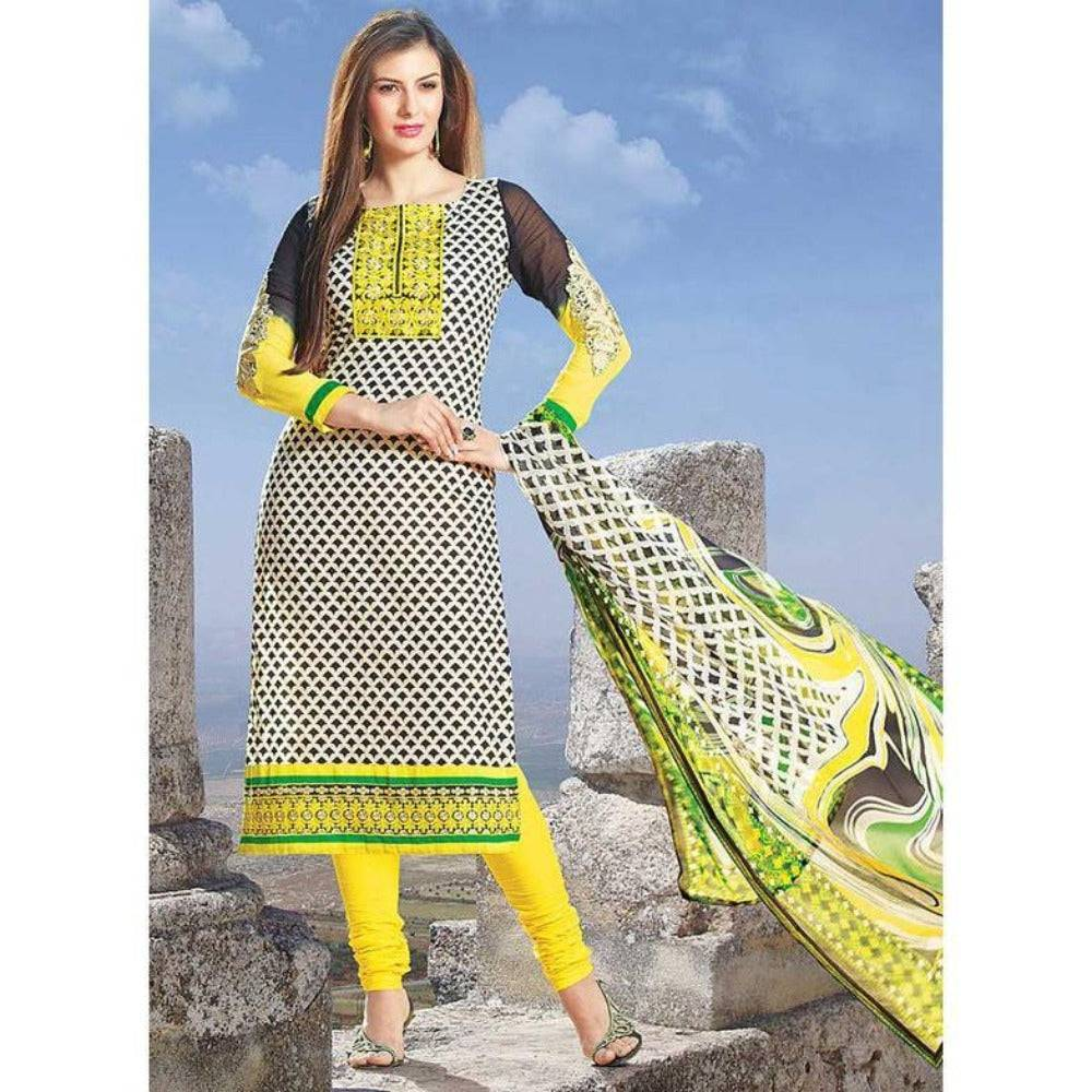 Bollywood Pakistani Indian Anarkali Salwar Kameez Yellow Printed Cotton Churidar Suit Party Wear - rangoutlet.com