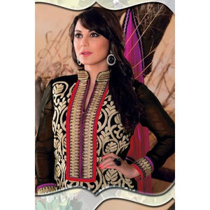 Black Faux Georgette Salwar kameez with Embroidered and Lace Work - rangoutlet.com
