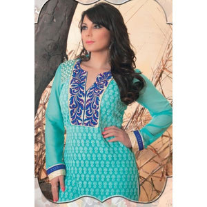 Minisha Lamba Suits-Blue Faux Georgette Salwar kameez with Embroidered and Lace Work - rangoutlet.com