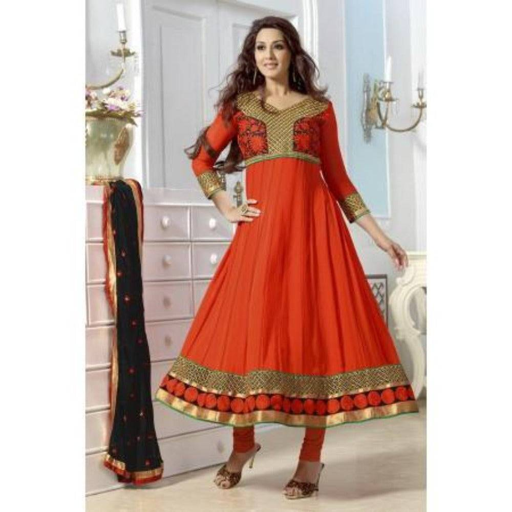 Orange Faux Georgette Anarkali Suits Pakistani Style - rangoutlet.com