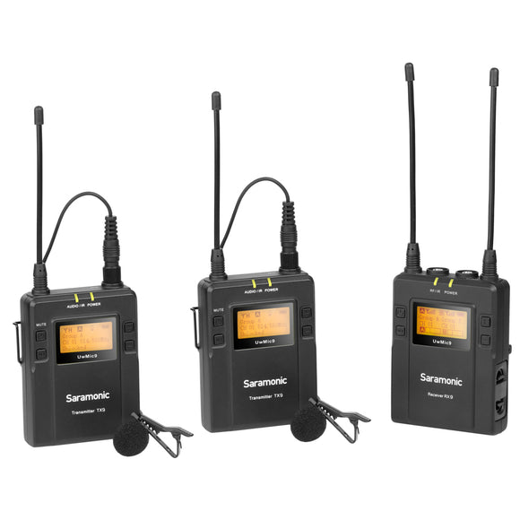 Saramonic UWMIC9 RX9+TX9+TX9 2-PERSON WIRELESS LAVALIER MICROPHONE SYSTEM WITH PORTABLE DUAL-CHANNEL CAMERA-MOUNTABLE RECEIVER