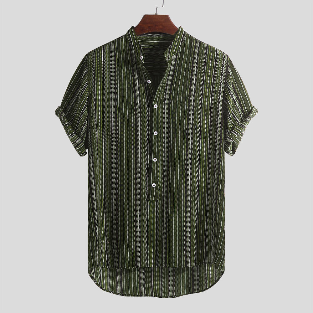 Short Sleeve Casual Henley Shirt