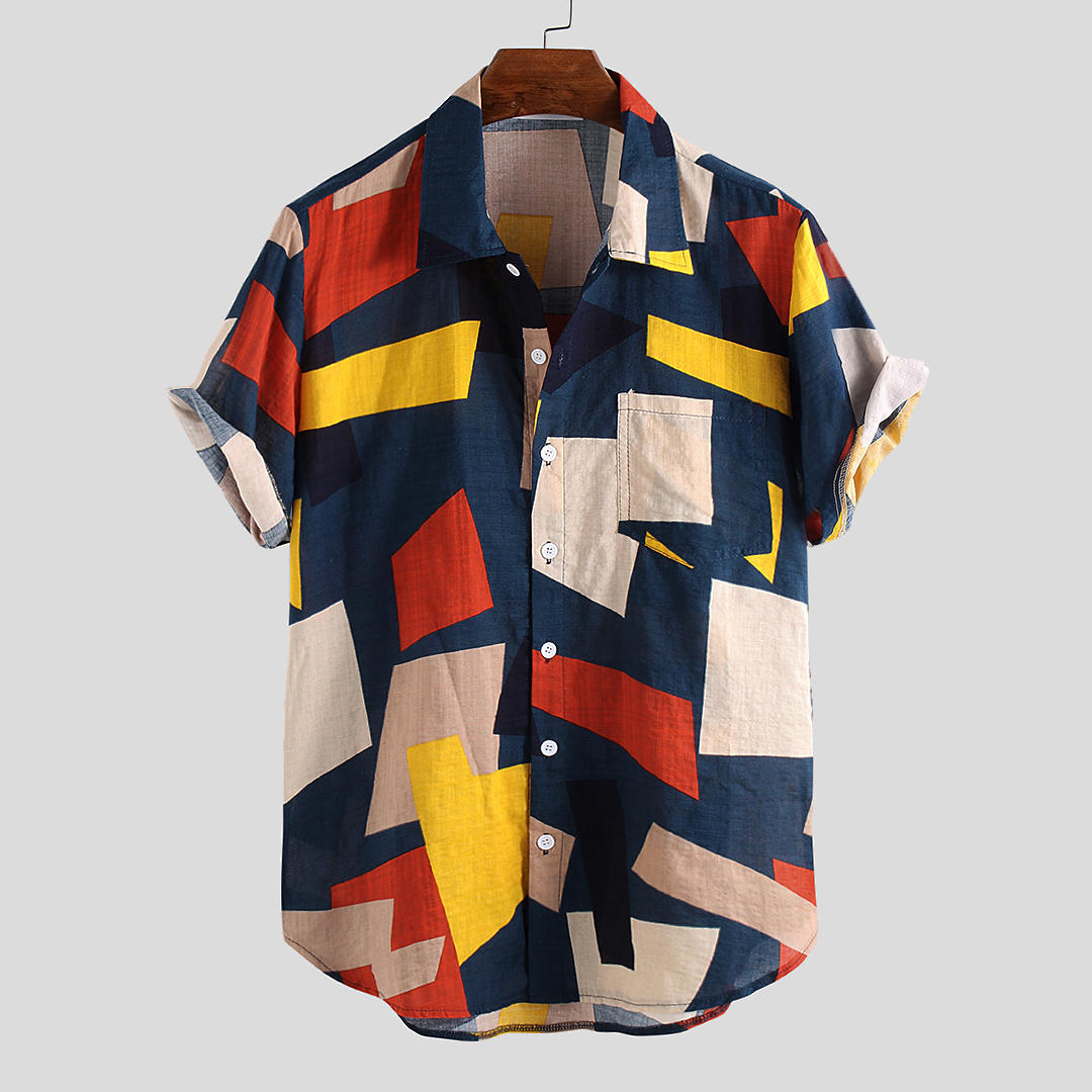 Color Printed Turn Down Collar Shirt