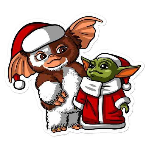 Gizmo and Baby Yoda Christmas Bubble-free stickers - Baby Yoda Shop