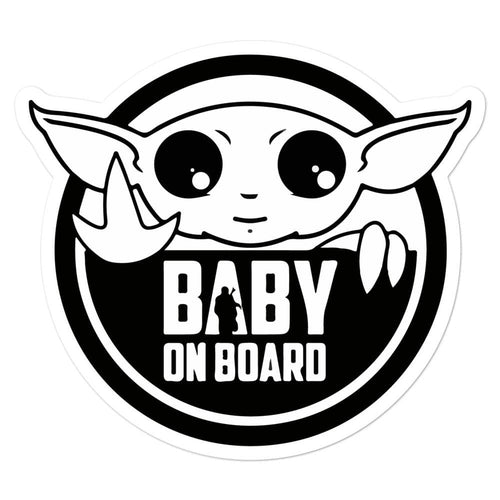 Round Baby Yoda On Board Bubble-free stickers - Baby Yoda Shop