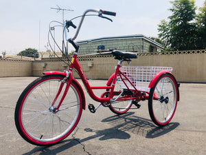 Trike Three Wheeler Adult Veneto 24in Tricycle 7 Speed Red Special Needs Balancing Bike