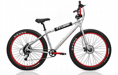 Thruster Retrograde BMX Bike for Adults Beginner to Advanced Riding Level 27.5 x 3.00 Off-Road Grey Red Black 9-Speed Bike