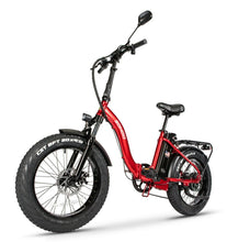 "Load image into Gallery viewer, Sohoo E-Bike 20""  Red Folding Bike Fat Tire City Electric Step Through Bike Adult"