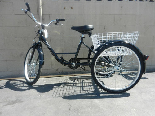 Trike Tricycle 3 wheeler Black Balance Bike Bicycle adult 24 in 7 speed Basket Special needs bicycle