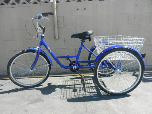 Trike Tricycle 3 wheeler Blue Balance Bike Bicycle adult 24 in 7 speed Basket Special needs bicycle
